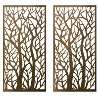 Privacy Screen Wall Art Panel | 6' x 3' | Pack of 2 Panels | Forest Design with Rustic Look