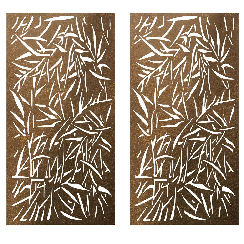 Privacy Screen Wall Art Panel | 6' x 3' | Pack of 2 Panels | Jungle Design with Rustic Look