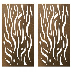 Privacy Screen Wall Art Panel   6' x 3'   Set of 2 Panels   Kelp Design with Rustic Look