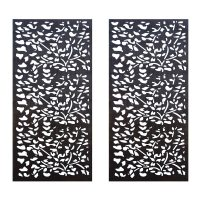 Privacy Screen Wall Art Panel | 6' x 3' | Pack of 2 Panels | Flora Design with Rustic Look