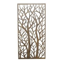 Privacy Screen Wall Art Panel | 4' x 2' | Forest Design with Rustic Look