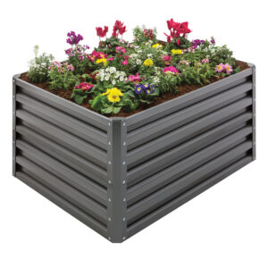 Metal-Double-Height-Raised-Garden-Bed-Slate-Gray